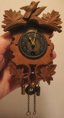 Old German Wooden Miniature Black Forest Wall Clock Signed W Haas - untested