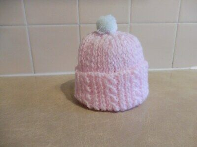 Hand Knitted Prem. Or Smaller Baby Pink Hat