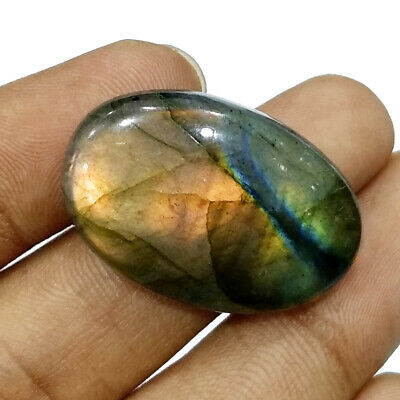 43 Cts+ Natural Untreated Peach Shine Labradorite Oval Huge Gem For Pendant Size