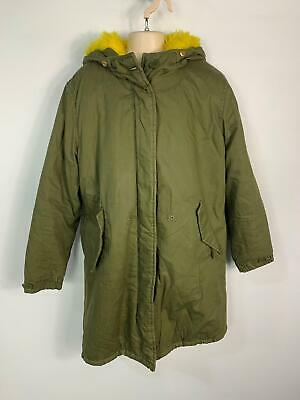 Girls Zara Khaki Green Winter Parka Parker Padded Hood Coat Kids Age 11/12 Years