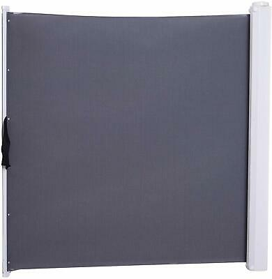 Pawhut Retractable Safety Gate Folding Room Divider Barrier For Dogs Pets Grey