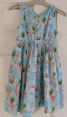 Girls Age 5 Years Old Monsoon Dress Turquoise Flamingos Occasion Vgc Party Dress