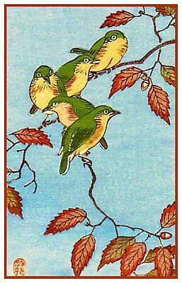 JAPAN NATURE SPARROW BIRD FLOWER SHOSON OHARA POSTER ART PRINT BB52A