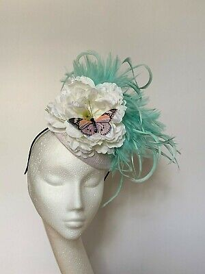 mint green feather fascinator hat Wedding Ascot Derby Races white butterfly hair