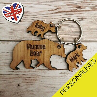 Personalised Mothers Day Gift Wooden Keyring Bear Dad Mum Birthday Gifts