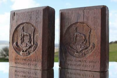 Arts & Crafts Cotswold School Oak Bookends From Windsor Castle Roedean School