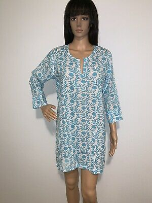 Gretchen Scott design White Blue Floral Print Cotton Tunic Top Size M