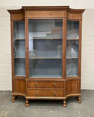 Stunning Edwardian Faded Mahogany Display Cabinet Concave Glass Panels