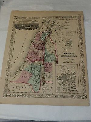 1863 Johnson's PALESTINE Antique Map Hand Colored 14 x 18""