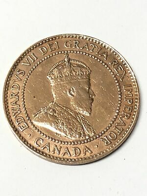 George VII One Cent 1908 Coin Canada