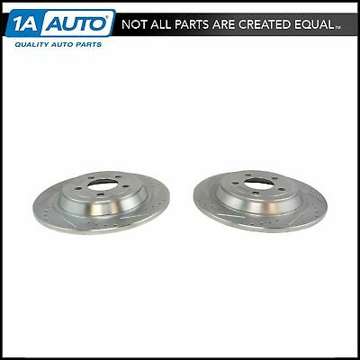 Rear Disc Brake Rotor Performance Drilled Slotted Zinc Coated Pair for Mustang