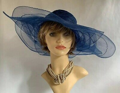 Navy Blue Large Flower Shaped Formal Dress Hat Flowers & Removable Ivory Corsage