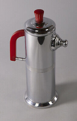 Art Deco Machine Age Sleek Design Chrome & Red Bakelite Cocktail Shaker 1930s