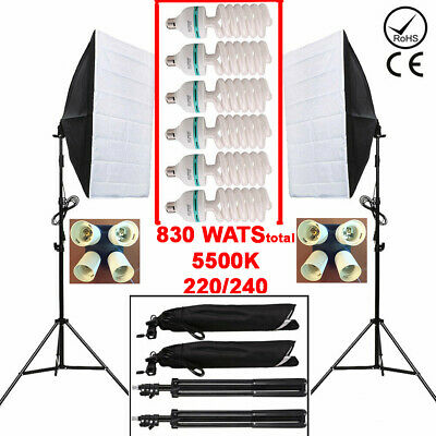Soft Box Continuous Lighting Softbox Light Stand Kit 830W 5500K