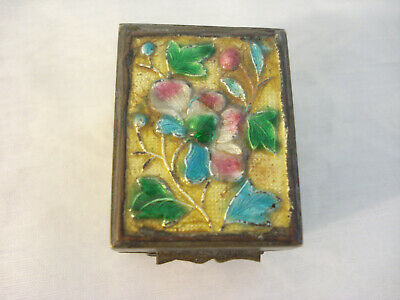 Vintage Chinese Enamel Cloisonne Brass Stamp Box Holder Blue Pink Floral Relief