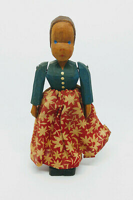 Folk Art Hand Carved Jointed Wooden Doll Americana