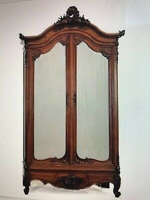 Antique French Armoire Large Mirrored Double Doors Hand Carved Louis Xv