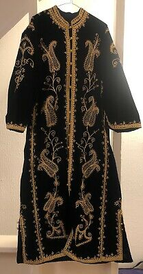 Black Velvet Robe With Gold Embroidery Preloved Needs Minor Repair 135cm Long