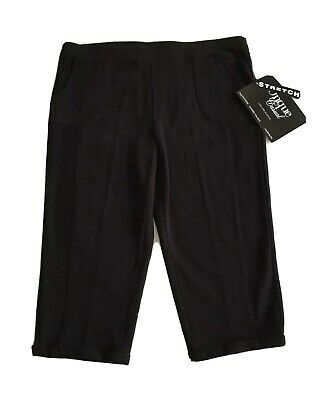 Onque Casual Pull-On Crop Capri Pants Pockets Stretch Black Cuffs Size PXL NWT