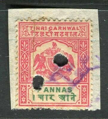 INDIAN STATES; TIHRI GARHWAL early 1900s local Revenue issue fine used value