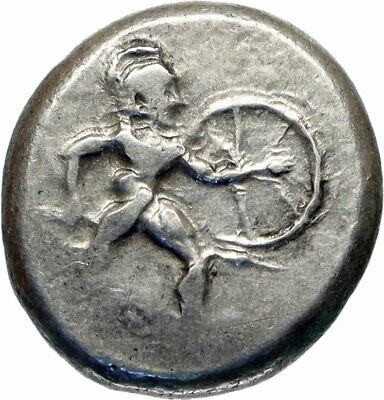 ASPENDOS PAMPHYLIA Ancient 450BC Silver Greek Coin HOPLITE TRISKELES i83002
