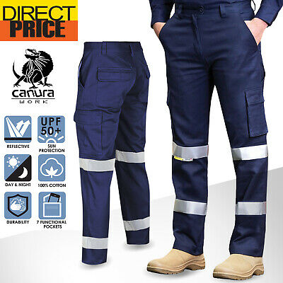 Hi Vis Pants Cargo Work Trousers Cotton Drill 3M Tape Tradie AU Standard UPF50+