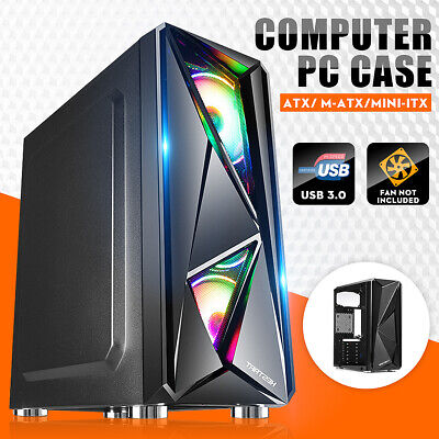 USB 3.0 Gaming PC Case 6x LED Fans Tempered Glass Panels ATX/ M-ATX Desktop Case