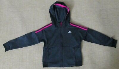Adidas 3-Stripes Hooded Jacket Girls Size S 7/8