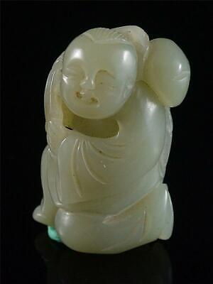 Antique Old Chinese Celadon Nephrite Jade Statue Toggle fairy boy archaistic sty