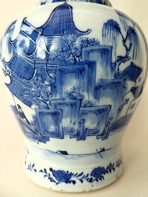 FINE ANTIQUE CHINESE PORCELAIN BLUE & WHITE LANDSCAPE VASE KANGXI MARK 19th CENT