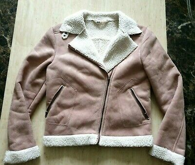 girls Stunning H&M jacket suede look fake shearling lined aviator age 14-15 year