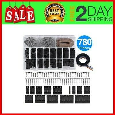 780Pieces 2.54mm Pitch Housing Connector Pin Male Female Crimp Pins with 10 Wire