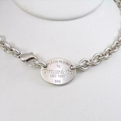 "Tiffany & Co Sterling Silver Return To Pendant Rolo Necklace 15.5"" LHB3"