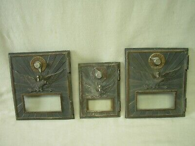 Vintage Antique Brass Us Post Office Eagle Mail Box Door Lot Of Three ( 3 )