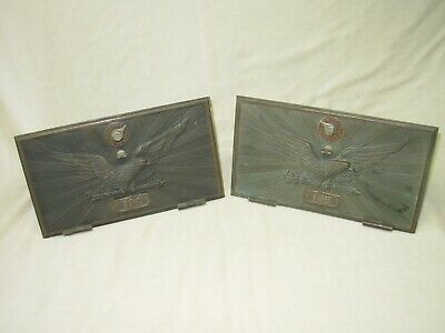 Two (2) Vintage Antique Large Brass  Us Post Office Eagle Mail Box Door 125 126
