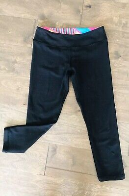 Ivivva Girls Size 10 Crop Leggings Cropped Black Reversible  *Read