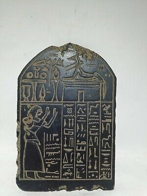 RARE ANTIQUE ANCIENT EGYPTIAN Statue Stela God Anubis Grave War 1285-1249 Bc