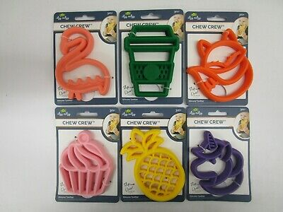 6 Itzy Ritzy Chew Crew Silicone Teether 3M+ Dishwasher Safe Assorted Nt 7359