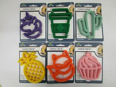 6 Itzy Ritzy Chew Crew Silicone Teether 3M+ Dishwasher Safe Assorted Nt 7360