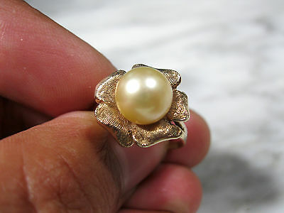 MID CENTURY LG GOLDEN AKOYA 9mm PEARL FLOWER COCKTAIL RING 10K GOLD SIZE 7 3/4