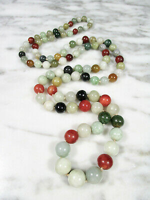 Vintage Chinese Export Multi-Color Jadeite Jade Graduated Round Bead Necklace