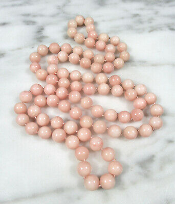 "Antique Victorian Natural Pink Angel Skin Coral 8Mm Beaded Necklace 32"" 67.7 Gr"