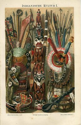 1895 NATIVE AMERICAN INDIANS WEAPONS SCALPING KNIFE TOMAHAWK SIOUX APACHE Print