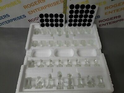 Glass Chess Pieces or Board Clear Frosted Blue Glass Pieces 4-8cm Tall 3cm Wide