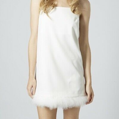TOPSHOP White Slip Dress UK 6 8 XS Feather Hem Strappy Shift Ostrich Mini
