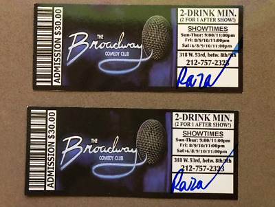 Two (2) Tickets Broadway Comedy Club NYC New York City Never Expires Very Funny!