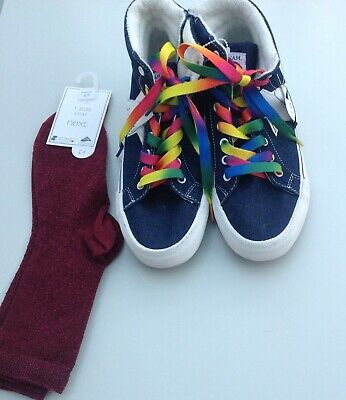 Next girls high top trainers and socks size 4 UK