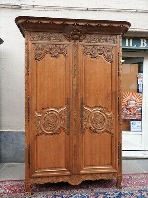 Important Antique Closet of 700 oak Solid Wood Paint High Savoia Period