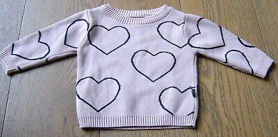 Huxbaby Baby Girls Cotton Knit Jumper With Hearts Sz 6 - 12 Months (0)