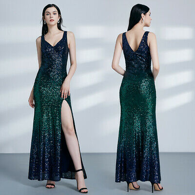 Ever-Pretty Women Fashion Sequins Long Vneck Split Evening Prom Dress Ball Gowns